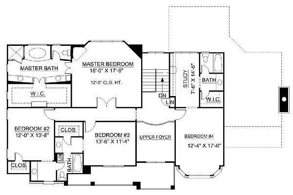 European Floor Plan - Upper Floor Plan Plan #119-247