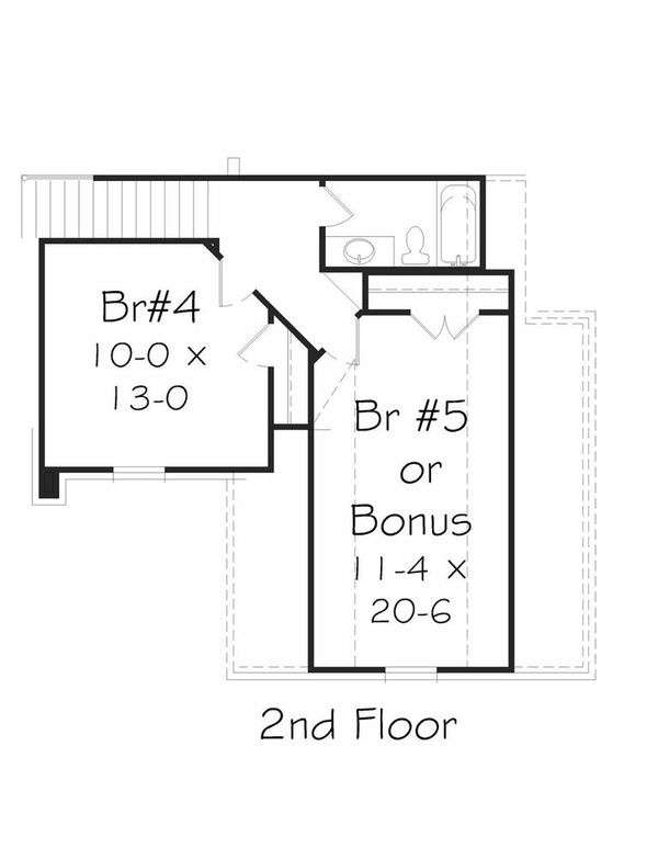 Traditional Floor Plan - Upper Floor Plan Plan #329-350