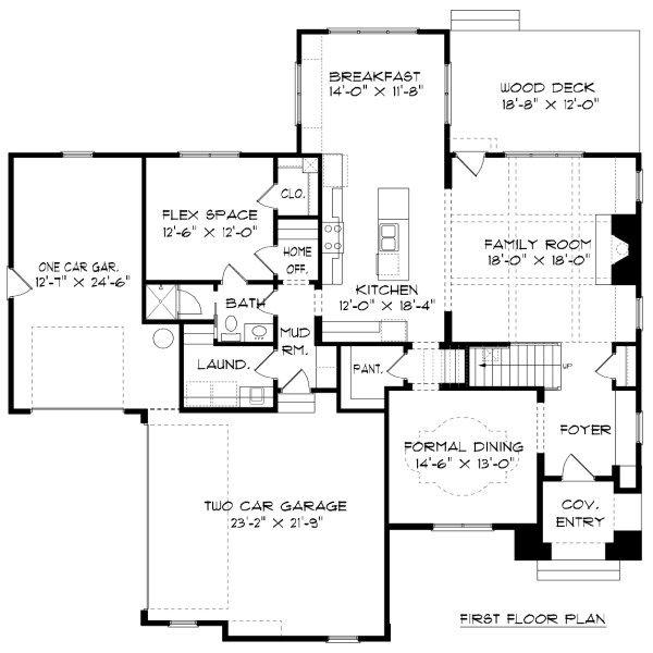 Tudor Floor Plan - Main Floor Plan Plan #413-888