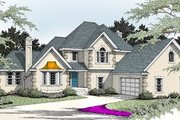 European Style House Plan - 4 Beds 3 Baths 2406 Sq/Ft Plan #92-204 Exterior - Front Elevation