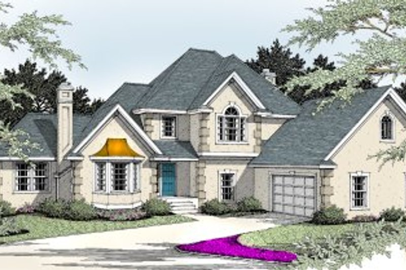 European Exterior - Front Elevation Plan #92-204