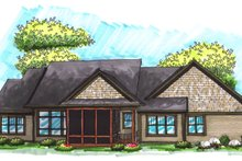 Home Plan Design - Ranch Exterior - Rear Elevation Plan #70-1036