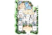 Mediterranean Style House Plan - 5 Beds 6.5 Baths 7123 Sq/Ft Plan #27-275 Floor Plan - Main Floor Plan