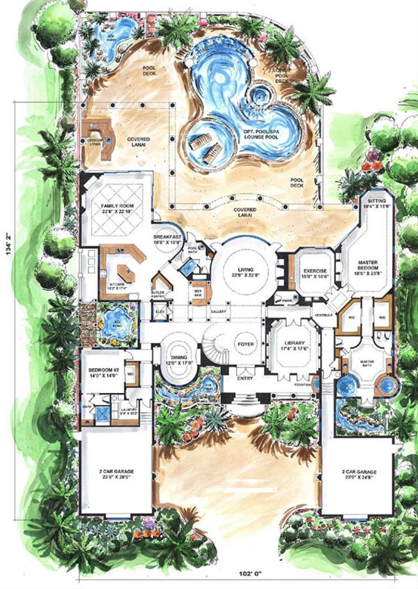 Mediterranean Floor Plan - Main Floor Plan Plan #27-275