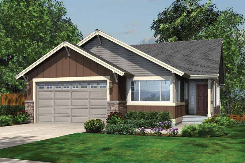 Ranch Exterior - Front Elevation Plan #132-540 - Houseplans.com