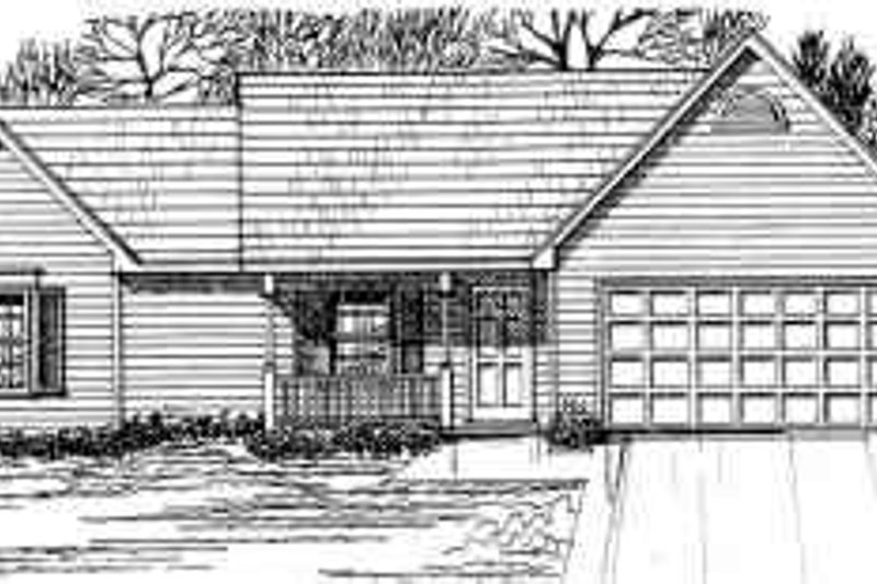 Country Style House Plan - 3 Beds 2 Baths 1364 Sq/Ft Plan #30-126 Exterior - Front Elevation