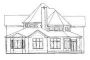 European Style House Plan - 4 Beds 3.5 Baths 2830 Sq/Ft Plan #20-260 Exterior - Rear Elevation