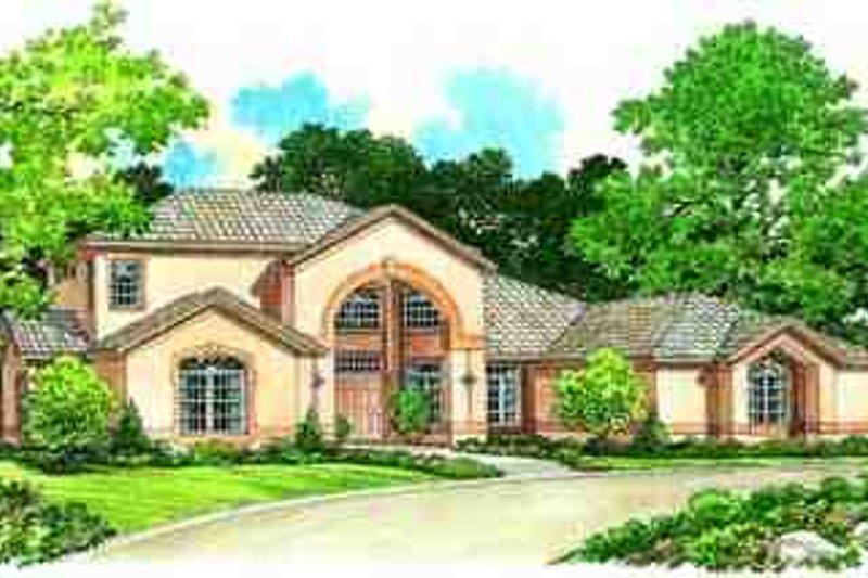 House Blueprint - Adobe / Southwestern Exterior - Front Elevation Plan #72-220