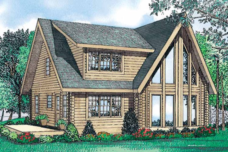 Log Exterior - Front Elevation Plan #17-3098 - Houseplans.com