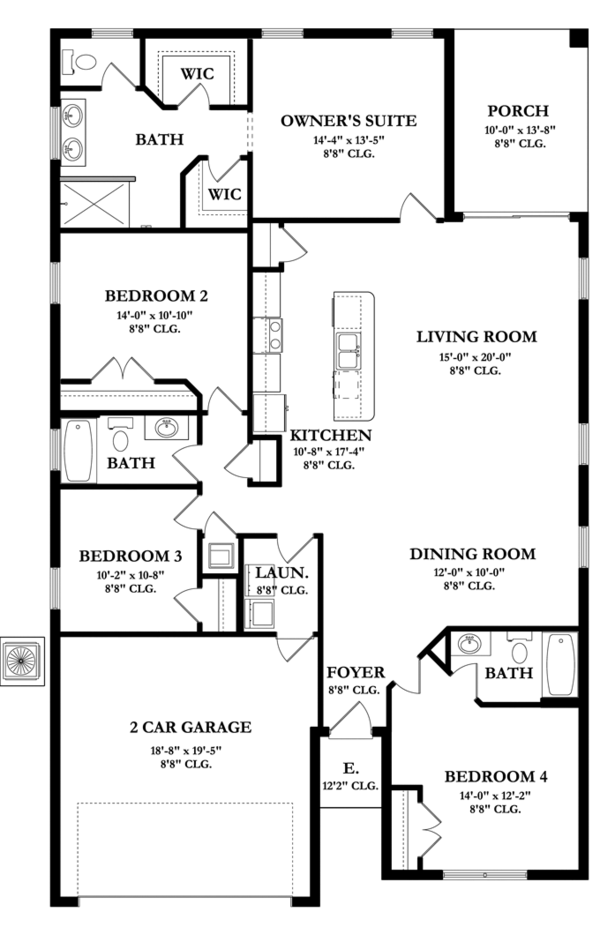 Mediterranean Floor Plan - Main Floor Plan Plan #1058-57