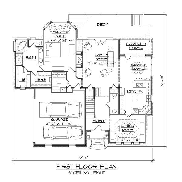 Traditional Floor Plan - Main Floor Plan #1054-72