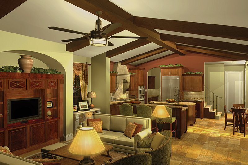 Mediterranean Interior - Family Room Plan #930-434 - Houseplans.com
