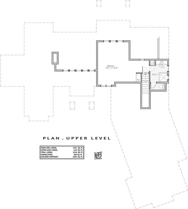 Craftsman Floor Plan - Upper Floor Plan Plan #892-11