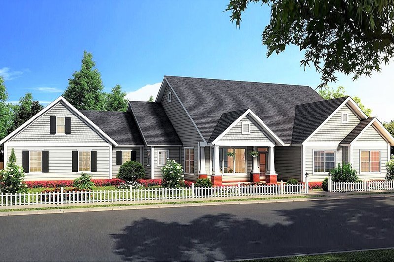 Ranch Exterior - Front Elevation Plan #513-2185