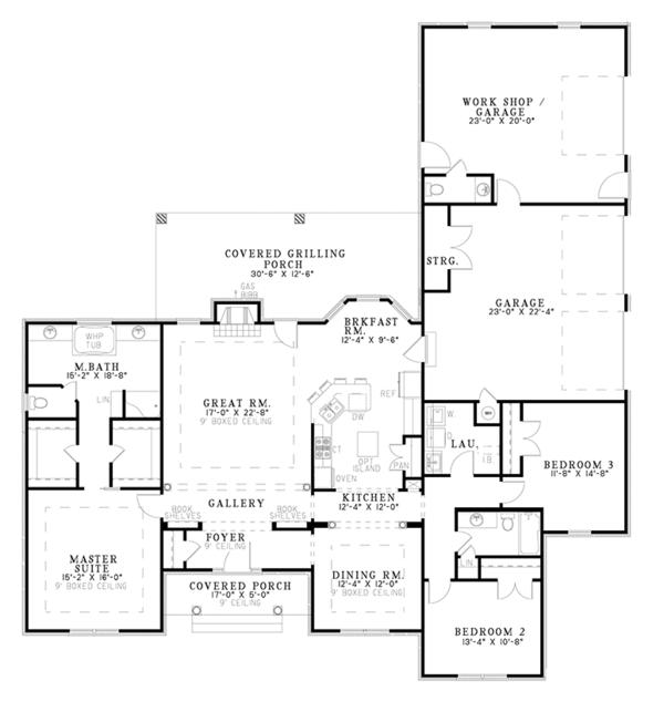 Architectural House Design - Ranch Floor Plan - Main Floor Plan #17-2781
