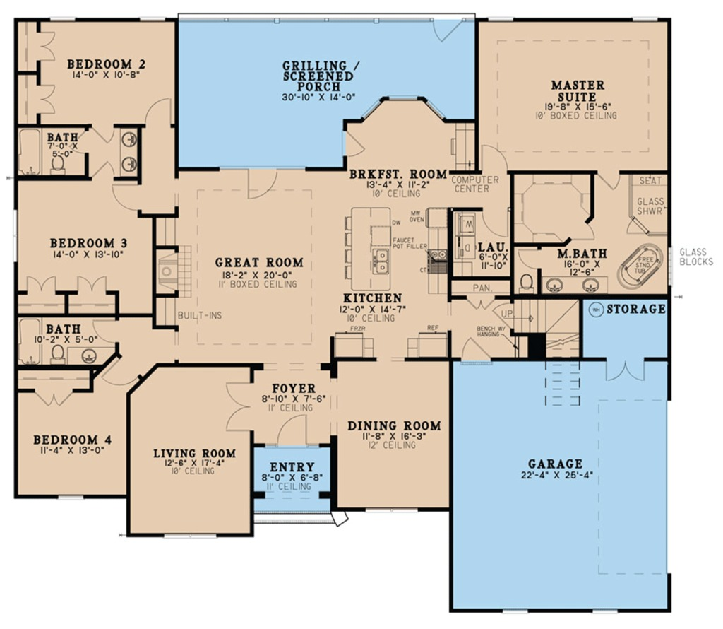 Ranch Style House Plan 4 Beds 3 Baths 2646 Sq Ft Plan 923 75 Dreamhomesource Com