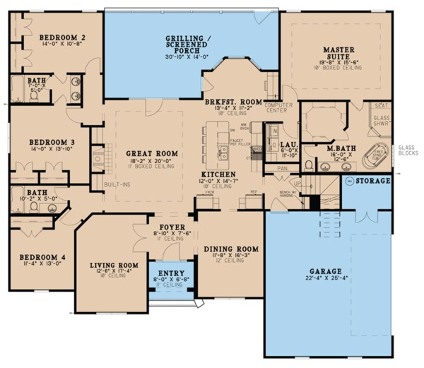 Architectural House Design - Ranch Floor Plan - Main Floor Plan #923-75