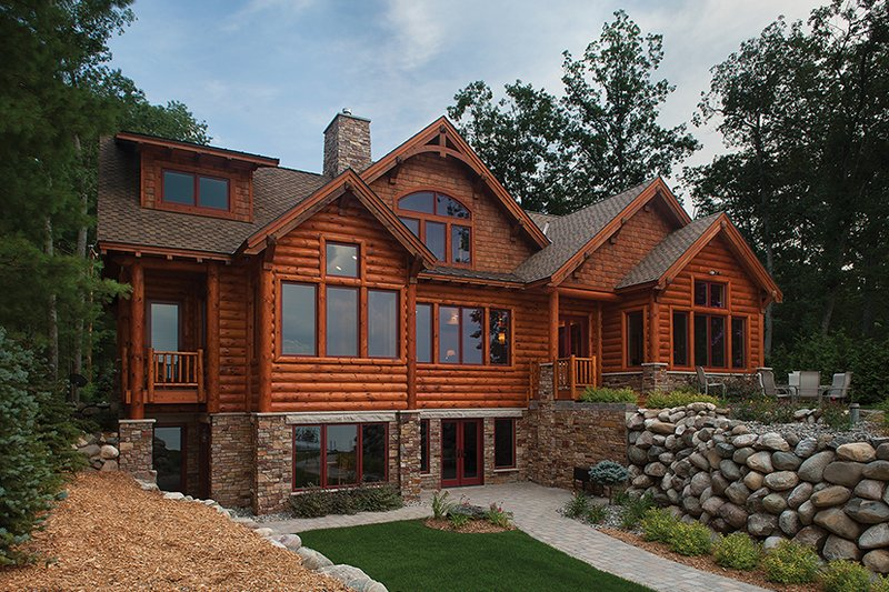 Log Exterior - Rear Elevation Plan #928-263 - Houseplans.com