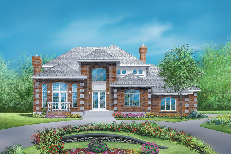 European Style House Plan - 3 Beds 3 Baths 3314 Sq/Ft Plan #25-2126 Exterior - Front Elevation