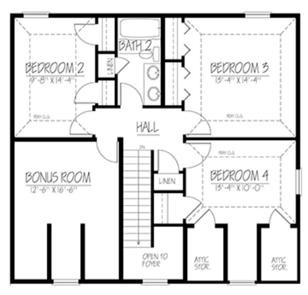 Colonial Floor Plan - Upper Floor Plan Plan #1061-2
