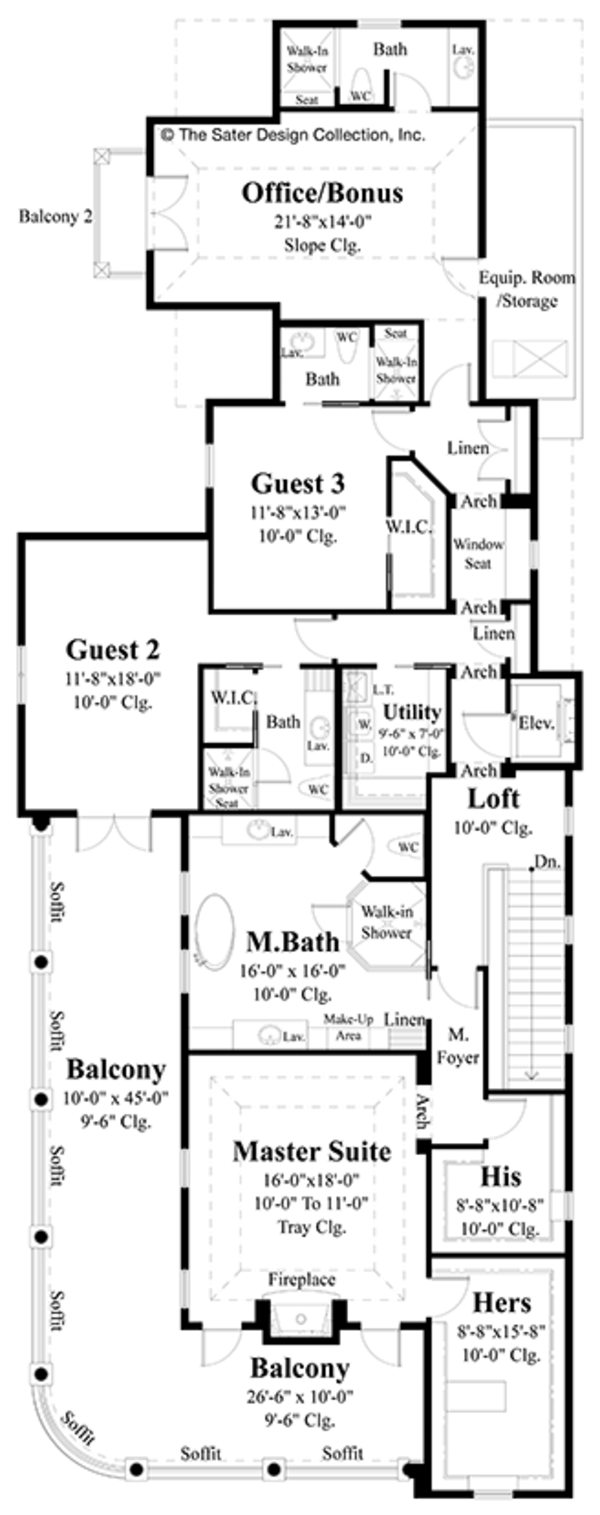 Classical Floor Plan - Upper Floor Plan Plan #930-460