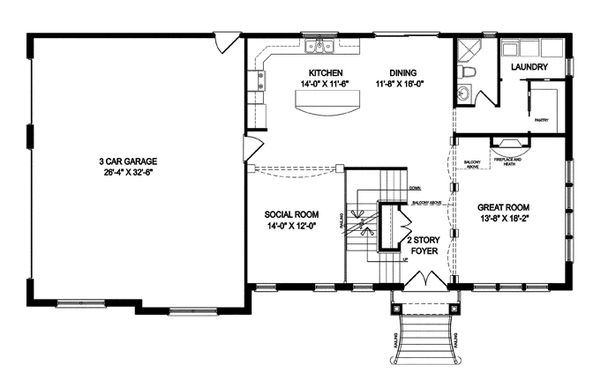 Traditional Floor Plan - Main Floor Plan Plan #1057-5