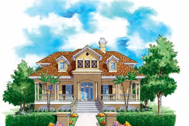 Mediterranean Exterior - Front Elevation Plan #930-146