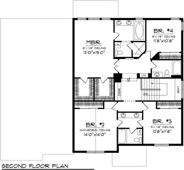 Traditional Floor Plan - Upper Floor Plan Plan #70-1089