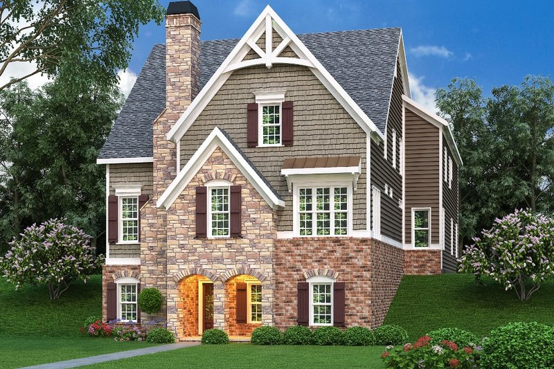 Traditional Style House Plan - 5 Beds 5 Baths 4407 Sq/Ft Plan #419-234 Exterior - Front Elevation