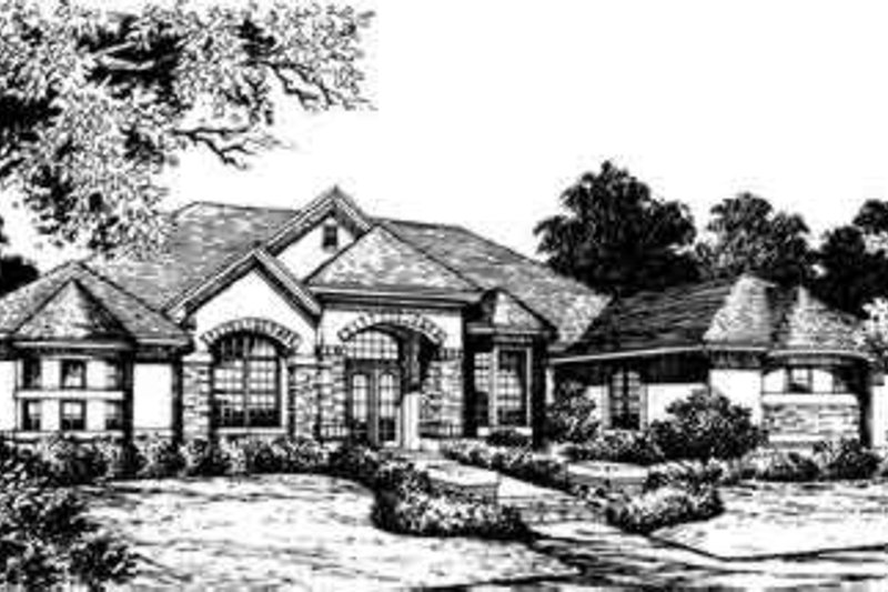 European Style House Plan - 4 Beds 4 Baths 3166 Sq/Ft Plan #135-125 Exterior - Front Elevation