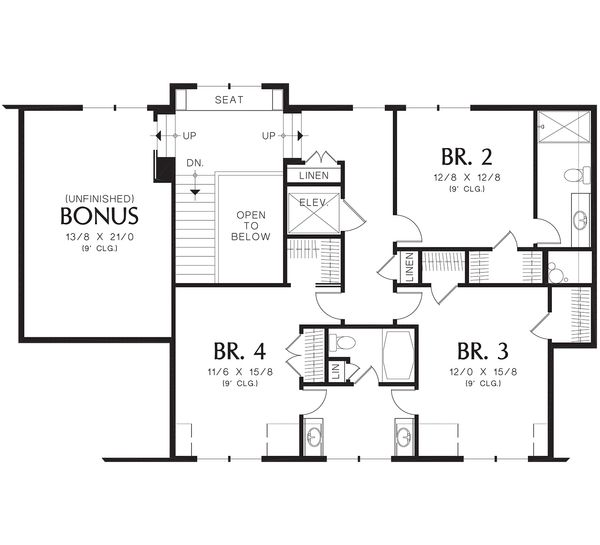 Craftsman Floor Plan - Upper Floor Plan Plan #48-665