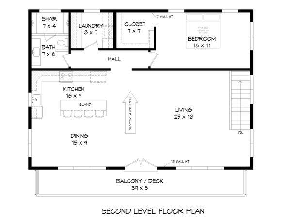 House Blueprint - Modern Floor Plan - Upper Floor Plan #932-371