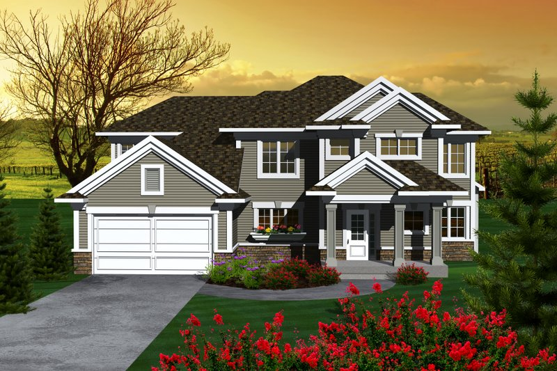 Craftsman Style House Plan - 3 Beds 2.5 Baths 2046 Sq/Ft Plan #70-1132 Exterior - Front Elevation