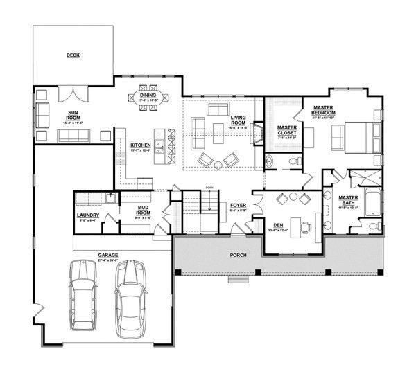Ranch Floor Plan - Main Floor Plan Plan #928-2