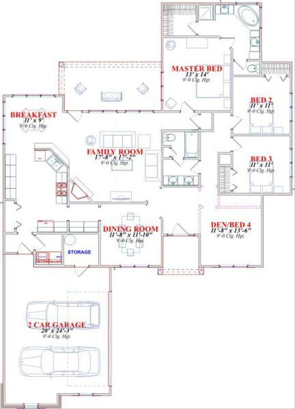 Traditional Floor Plan - Main Floor Plan Plan #63-153