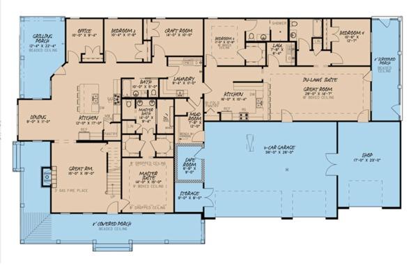 House Plan Design - Farmhouse Floor Plan - Main Floor Plan #923-105