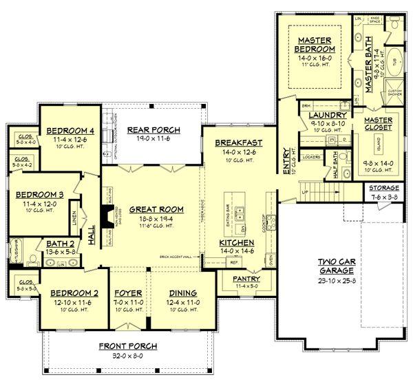 Architectural House Design - Farmhouse Floor Plan - Main Floor Plan #430-156