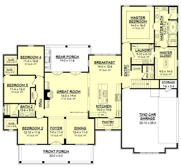 Dream House Plan - Farmhouse Floor Plan - Main Floor Plan #430-156
