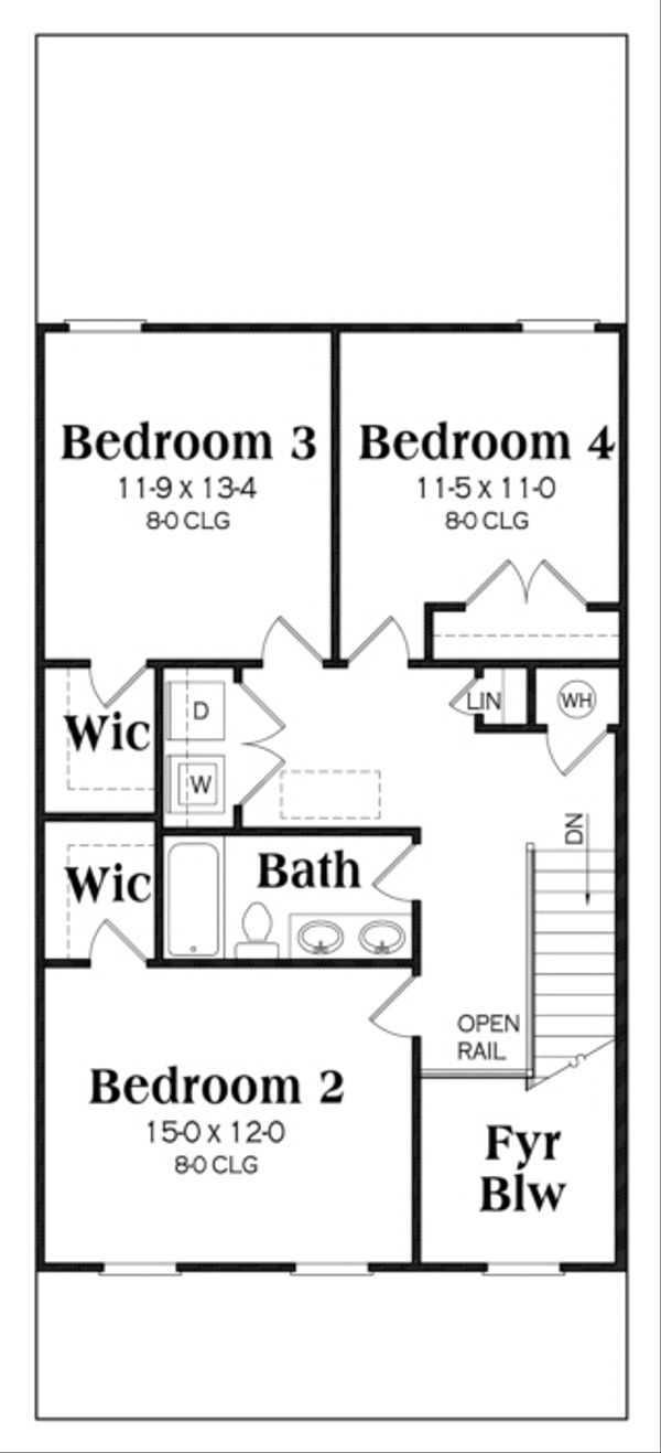 Southern Floor Plan - Upper Floor Plan Plan #419-238