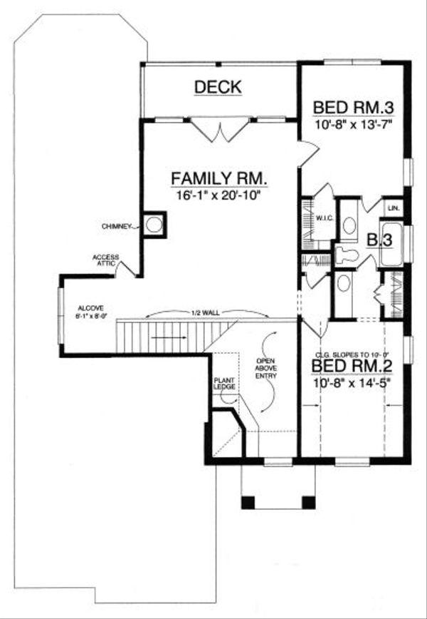 European Floor Plan - Upper Floor Plan Plan #40-392