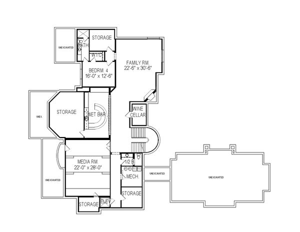 Architectural House Design - European Floor Plan - Lower Floor Plan #920-62