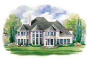 European Style House Plan - 4 Beds 3.5 Baths 4139 Sq/Ft Plan #20-1183 Exterior - Rear Elevation