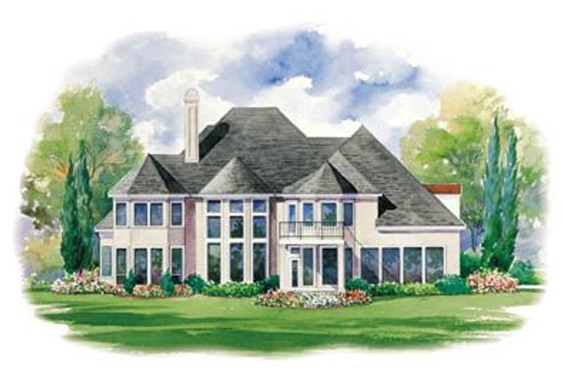 European Exterior - Rear Elevation Plan #20-1183 - Houseplans.com