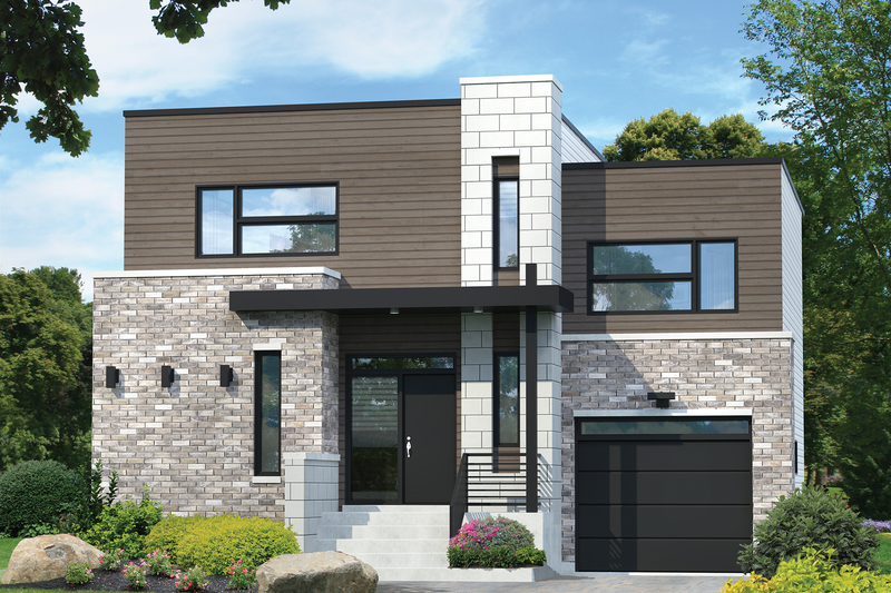 Modern Style House Plan - 3 Beds 1 Baths 1724 Sq/Ft Plan #25-4589 Exterior - Front Elevation