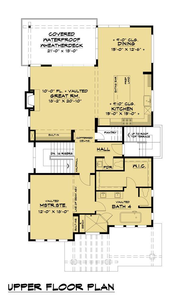 Contemporary Floor Plan - Upper Floor Plan Plan #1066-100