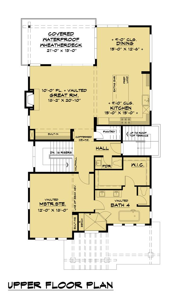 Contemporary Floor Plan - Upper Floor Plan Plan #1066-100