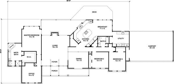 Country Floor Plan - Main Floor Plan Plan #140-162
