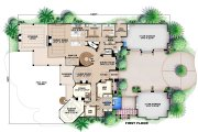 Mediterranean Style House Plan - 6 Beds 7.5 Baths 11672 Sq/Ft Plan #27-466 Floor Plan - Main Floor