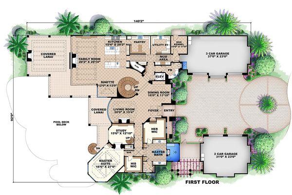 Mediterranean Style House Plan - 6 Beds 7.5 Baths 11672 Sq/Ft Plan #27-466 Floor Plan - Main Floor Plan