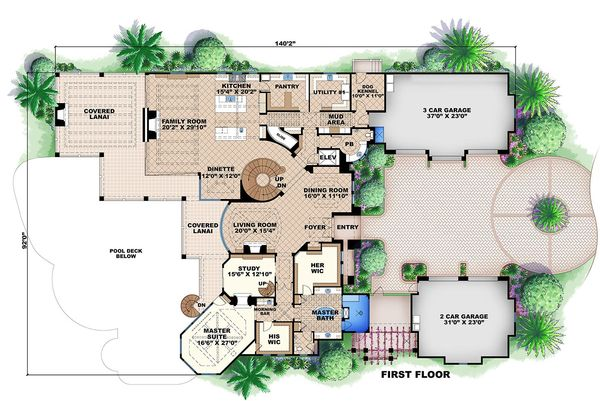 Mediterranean house plan, main level floor plan